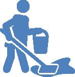 Icono de persona limpiando